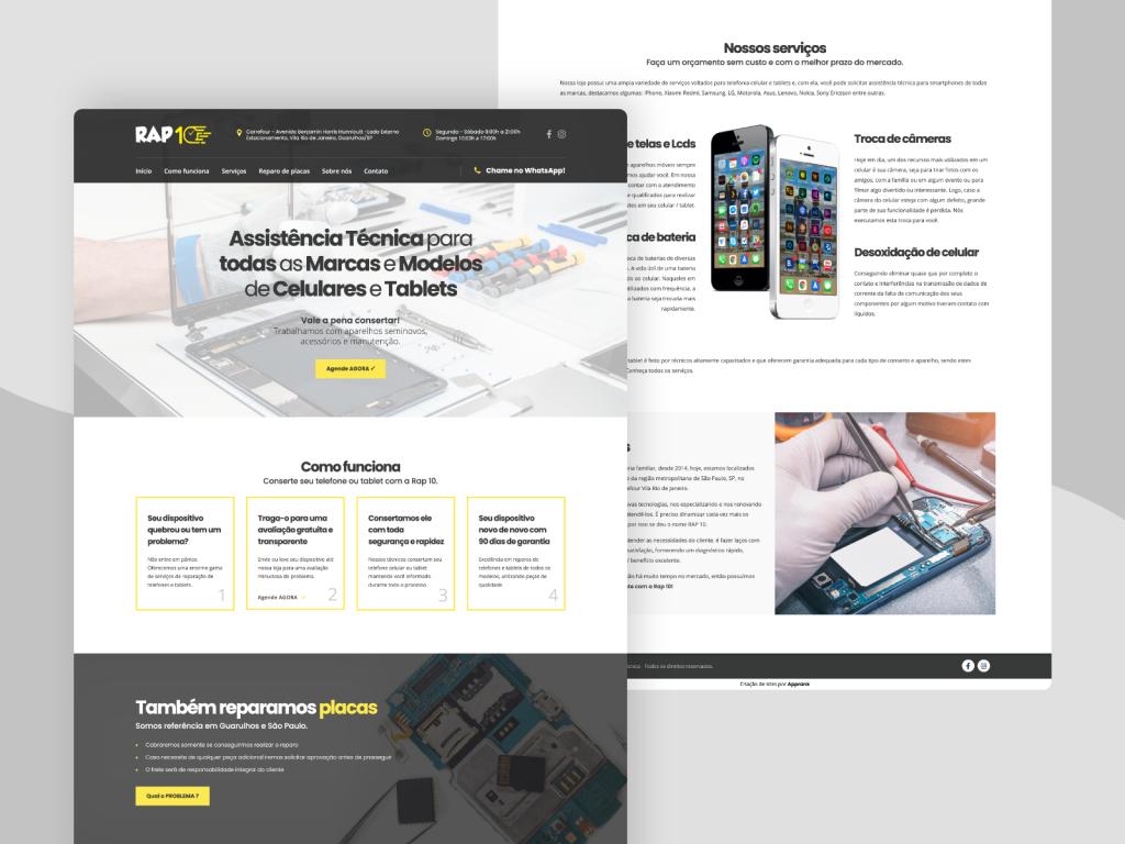 Criação de site para assistência técnica de smartphones e tablets