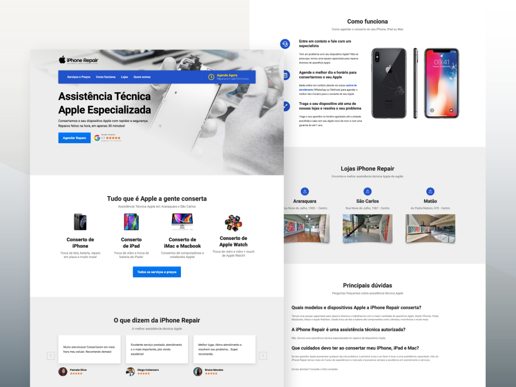 Desenvolvimento de site para assistência técnica Apple